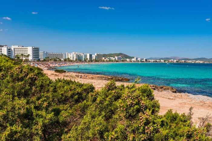 Spain Majorca Panorama Coastline Beach of Cala Millor