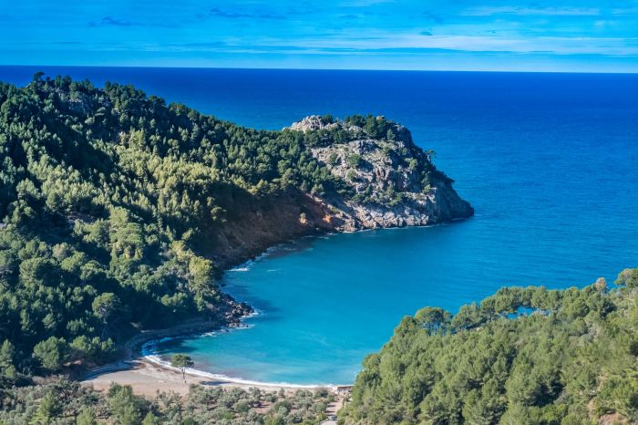 Cala Tuent, a remote, tranquil beach on the northwest coast of M