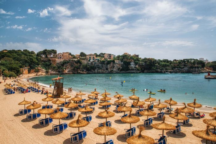 Beach in Porto Cristo on Mallorca, Balearic Islands, Spain